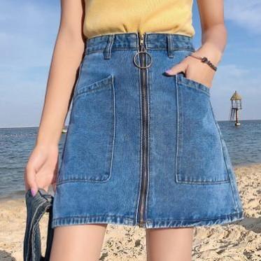韩版百搭高腰牛仔裙女2019春夏新款拉链拼接竖口袋学生短裙半身裙