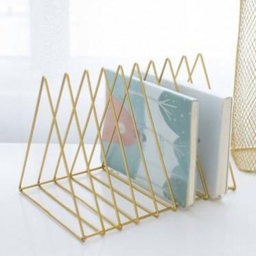 北欧简约金属三角铁艺桌面书架杂志架客厅书房办公桌上收纳架装饰