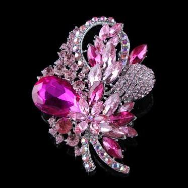 新款欧美大牌满钻花朵镶钻合金胸针 高档仿锆石水晶胸花衣饰批发