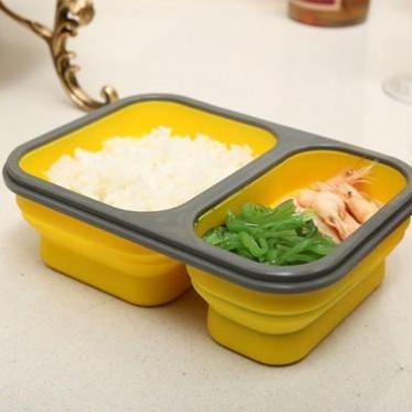 批发 硅胶二格锁扣折叠保鲜盒微波饭盒 户外旅行便携餐盒带叉勺