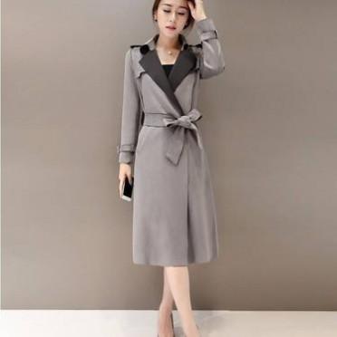 欧美鹿皮绒女式风衣长 气质中长款修身显瘦薄鹿皮绒风衣女外套潮