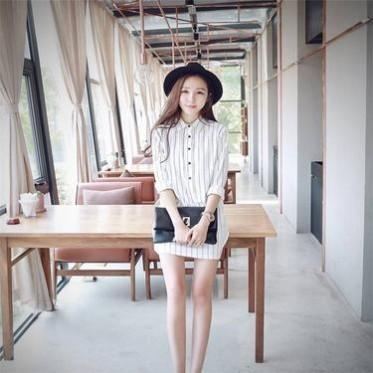 连衣裙秋秋装新款韩版女装长袖竖条纹时尚修身衬衫裙连衣裙