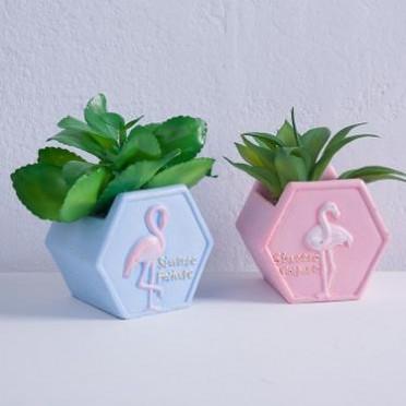 树脂多肉花盆创意特色火烈鸟仿真植物花盆家居装饰复古桌面小盆栽