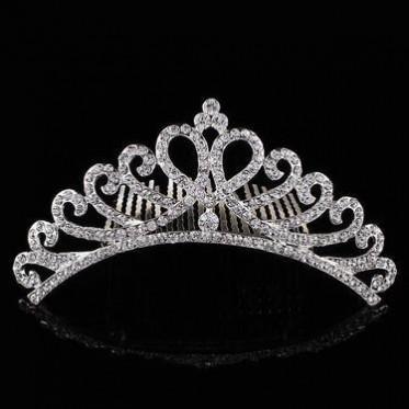 韩国新娘头饰 结婚饰品 欧美螺旋皇冠镶钻爱心发冠 婚纱高档发梳