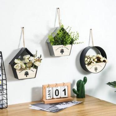 旧木良品欧式铁艺壁挂悬挂花篮吊篮墙面装饰客厅半圆花盆墙壁挂饰