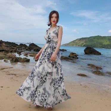 雪纺连衣裙女夏季印花气质长裙无袖显瘦系带普吉岛海边度假沙滩裙