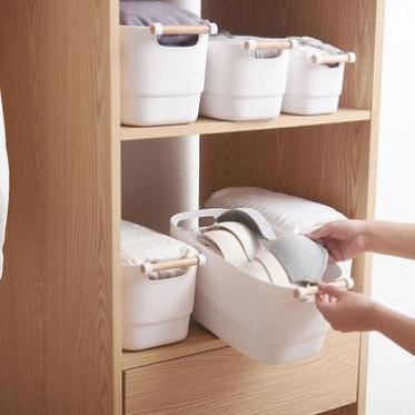 日式桌面杂物收纳篮 塑料整理收纳盒 家用厨房浴室卧室储物筐子
