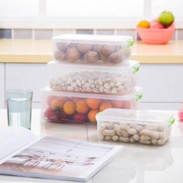 厂家直销 塑料密封保鲜盒厨房冰箱存储收纳盒微波炉饭盒 4件套装