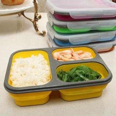 食品级三格硅胶折叠饭盒 微波炉饭盒加热保温饭盒 户外便携餐盒