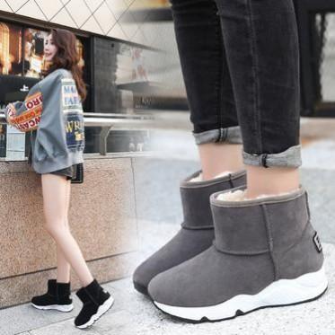 雪地靴女2018新款低筒加绒保暖学生套筒韩版女靴子圆头磨砂靴子女