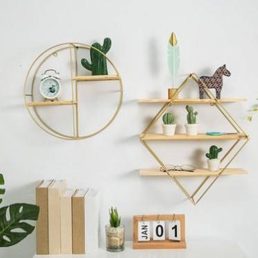 创意简约现代个性圆形菱形铁艺置物架墙面装饰壁饰悬挂挂件墙饰