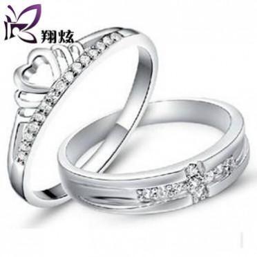 纯银戒指 韩版皇冠情侣对戒 925银 高档首饰 银饰 厂家直销批发