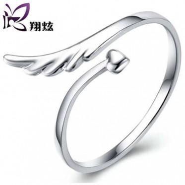 翔炫银饰 925纯银可爱戒指 女款 生日礼物 天使的翅膀开口指环