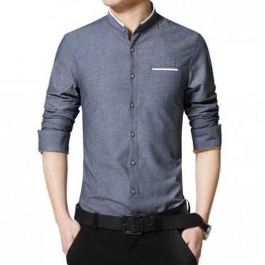 2018冬季加绒新款长袖衬衣免烫男修身韩版休闲男士纯棉立领衬衫