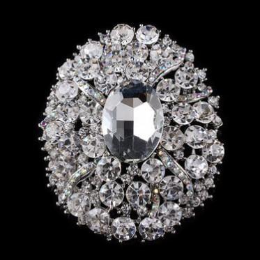 热卖欧美胸针 新款创意椭圆形花朵镶钻胸针 精致 胸针批发