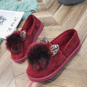 棉鞋女2018秋冬季新款毛毛球平底加绒学生浅口甜美保暖女棉鞋女靴