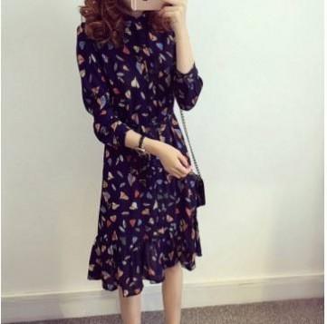 2016春季女装韩版大码雪纺中长款长袖连衣裙荷叶边修身印花大摆型