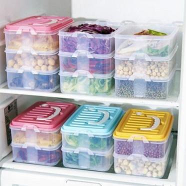 日式三层手提冰箱保鲜盒-防串味饭盒食品收纳盒可微波-一件代发